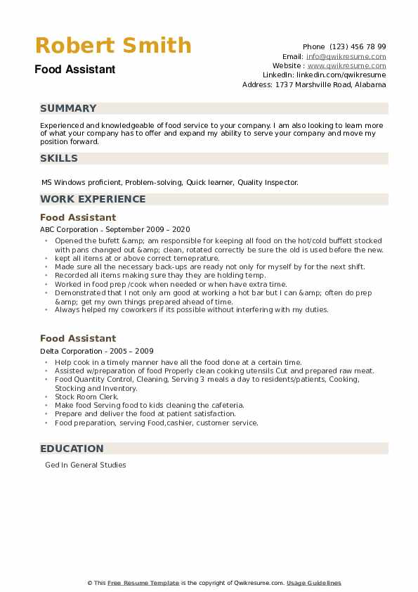 Food Assistant Resume example