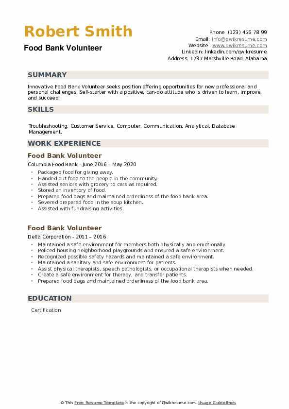 Food Bank Volunteer Resume example