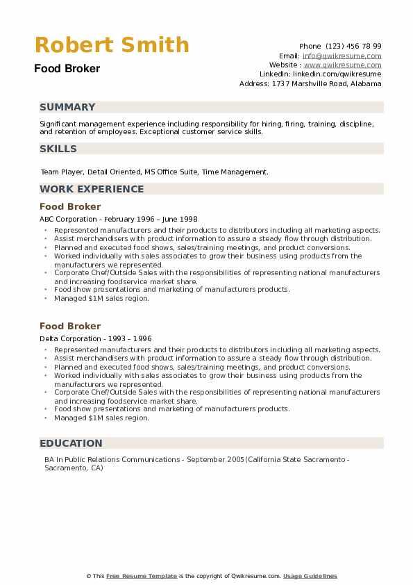 Food Broker Resume example