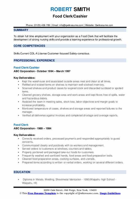 Food Clerk/Cashier Resume Model