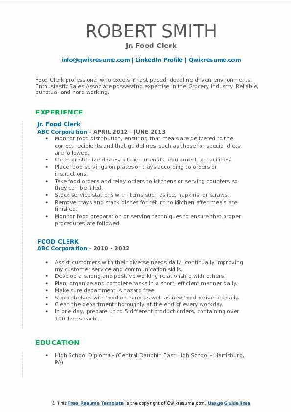 Jr. Food Clerk Resume Format