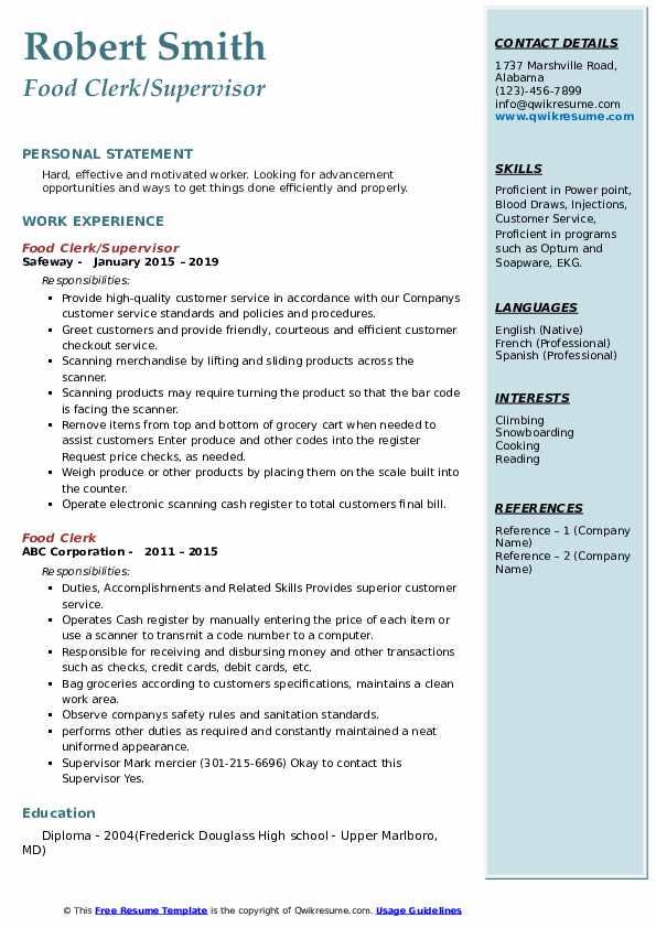 Food Clerk/Supervisor Resume Example