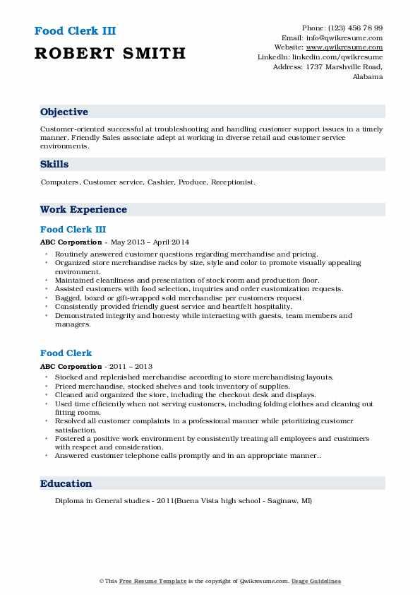 Food Clerk III Resume Model