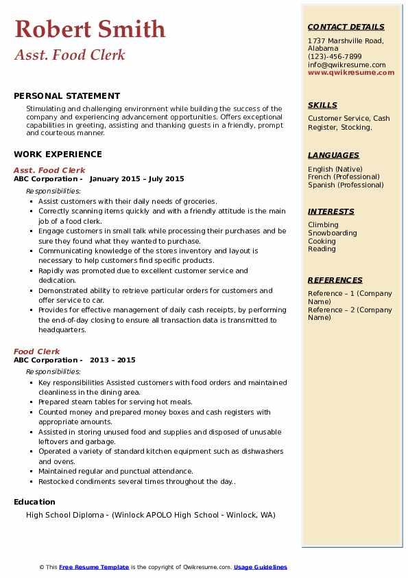 Asst. Food Clerk Resume Example