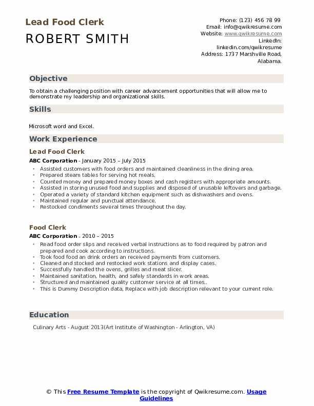 Lead Food Clerk Resume Sample