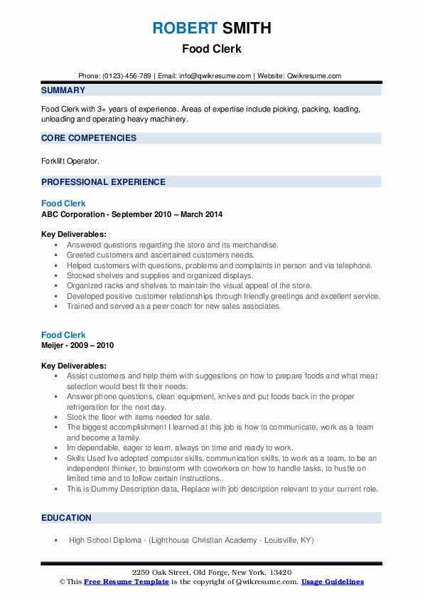 Food Clerk Resume example
