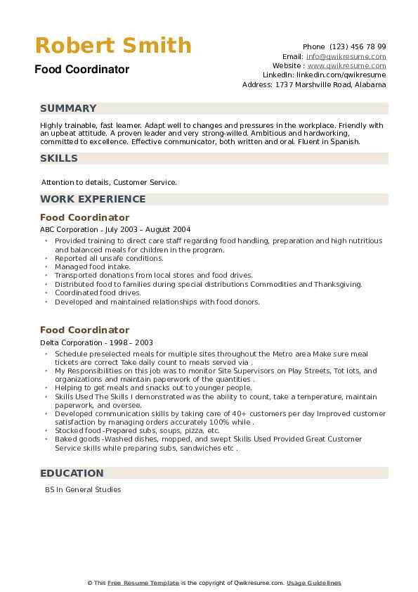 Food Coordinator Resume example