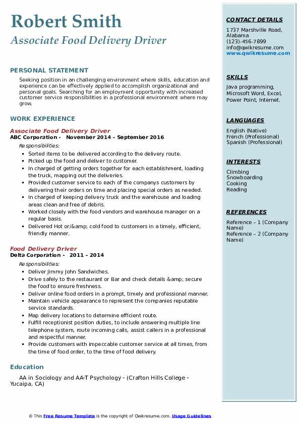 food delivery driver resume samples  qwikresume