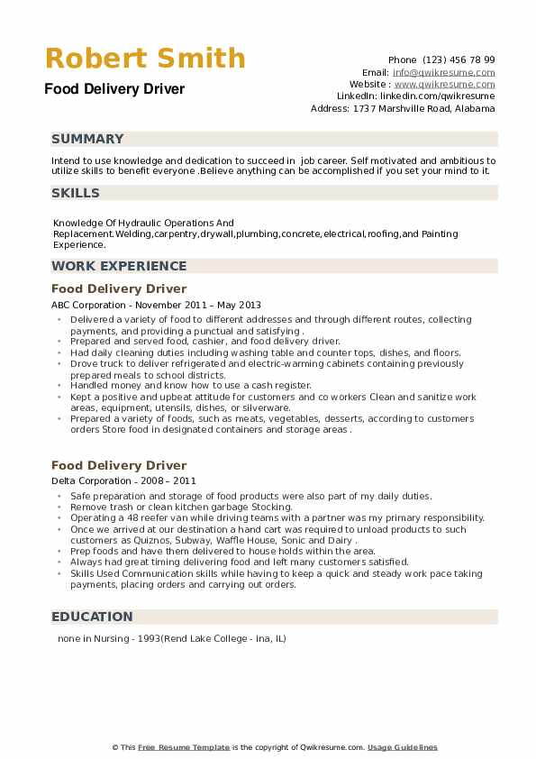 Food Delivery Driver Resume example