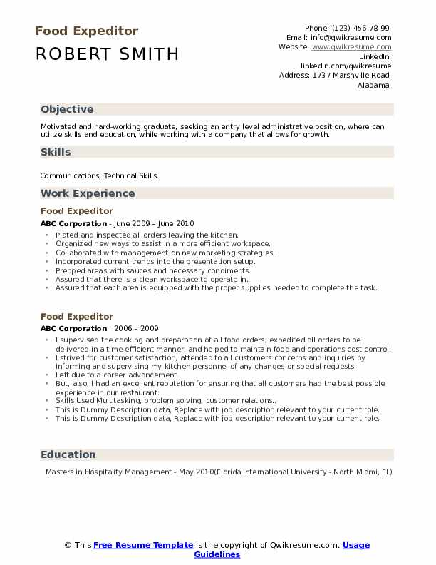 Food Expeditor Resume example