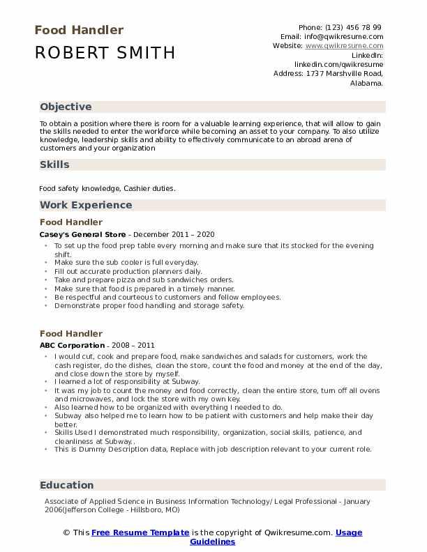 Food Handler Resume example