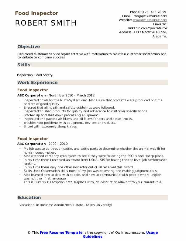 Food Inspector Resume example