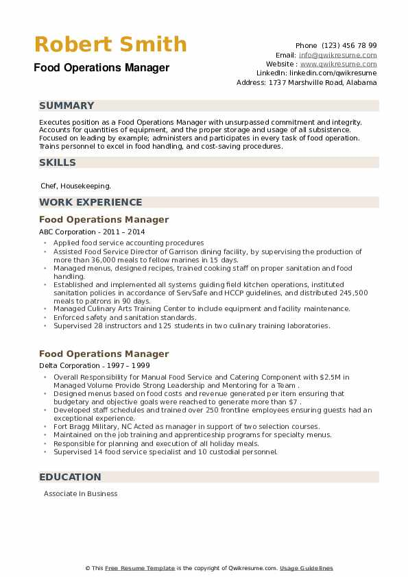 Food Operations Manager Resume example