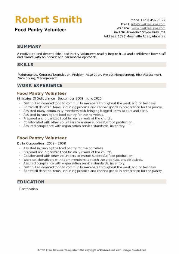 Food Pantry Volunteer Resume example