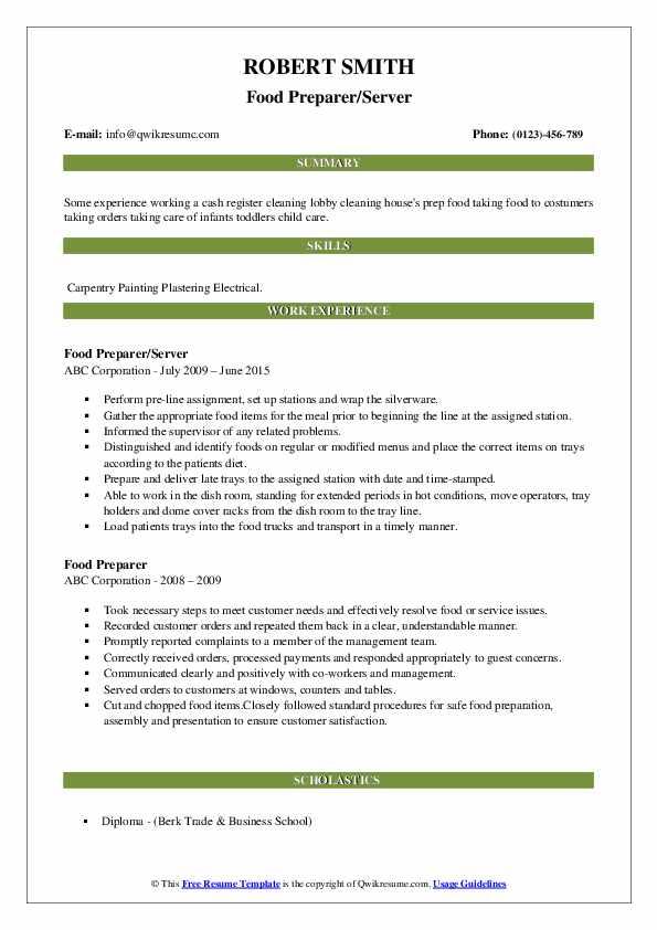 Food Preparer/Server Resume Model