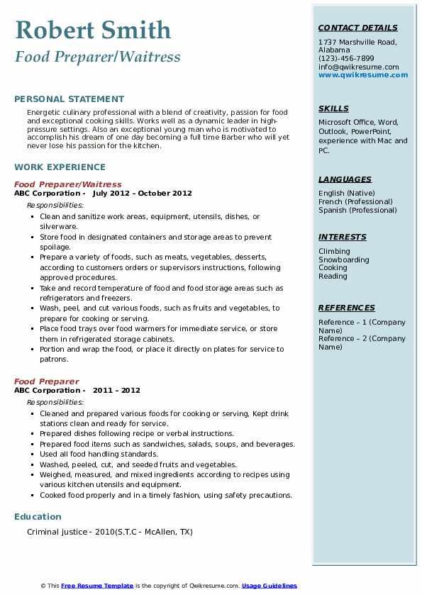 Food Preparer/Waitress Resume Model