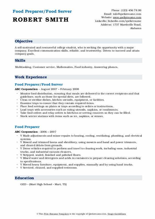 Food Preparer/Food Server Resume Template