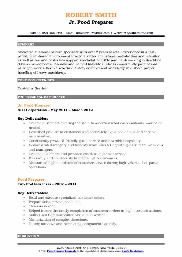 Jr. Food Preparer Resume Model
