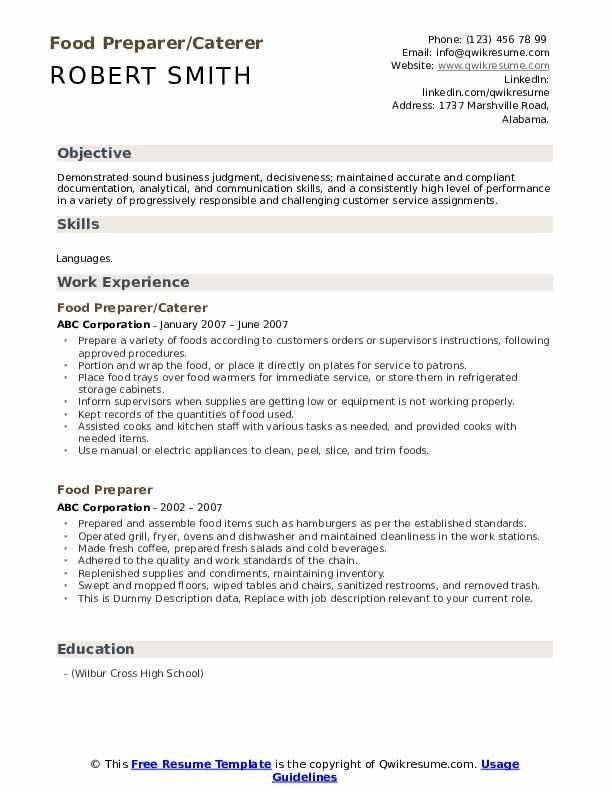 Food Preparer/Caterer Resume Template