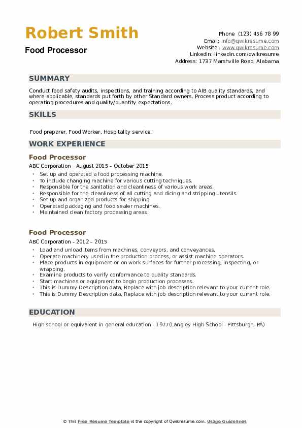 Food Processor Resume example