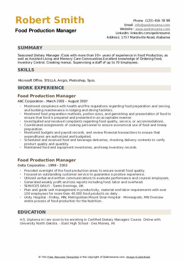 Food Production Manager Resume example
