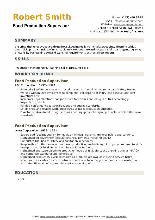 Food Production Supervisor Resume example