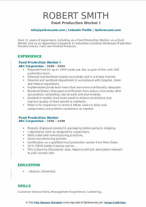 Food Production Worker Resume Samples Qwikresume