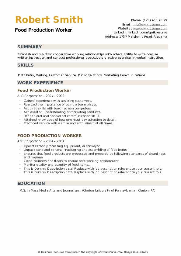 Food Production Worker Resume example