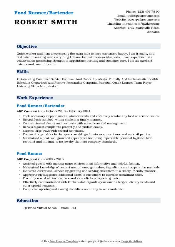Food Runner/Bartender Resume Format