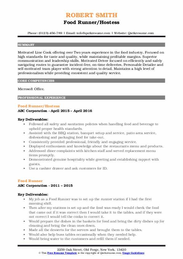 Food Runner/Hostess Resume Sample