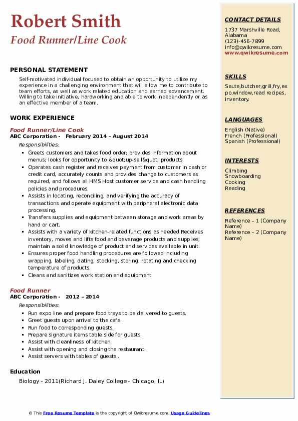 Food Runner/Line Cook Resume Example