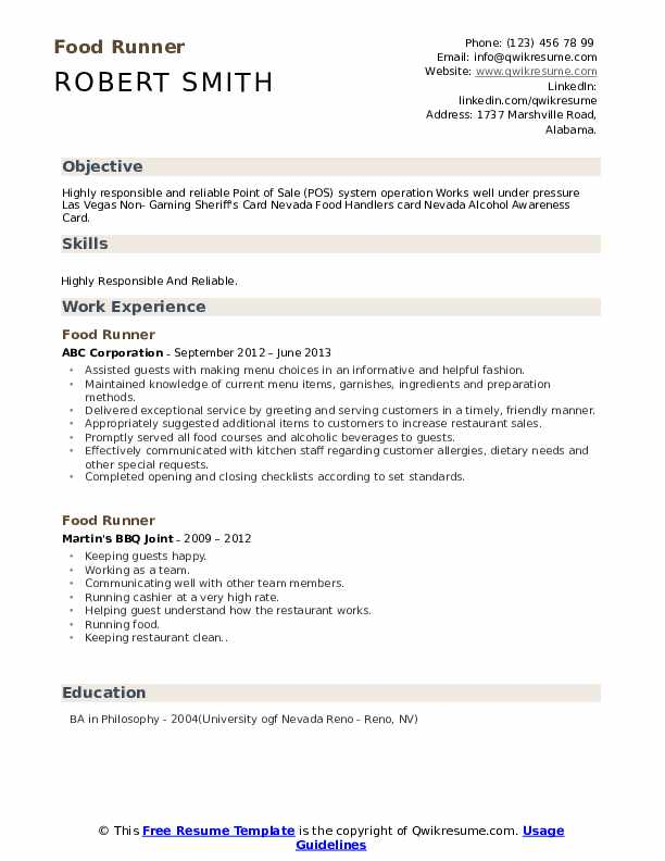 Food Runner Resume Model