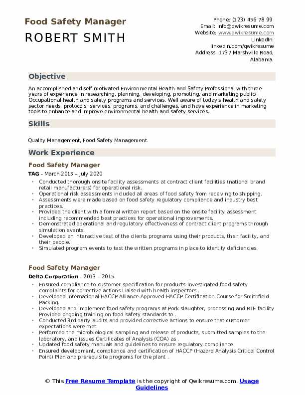 Food safety supervisor resume example of social work research proposal