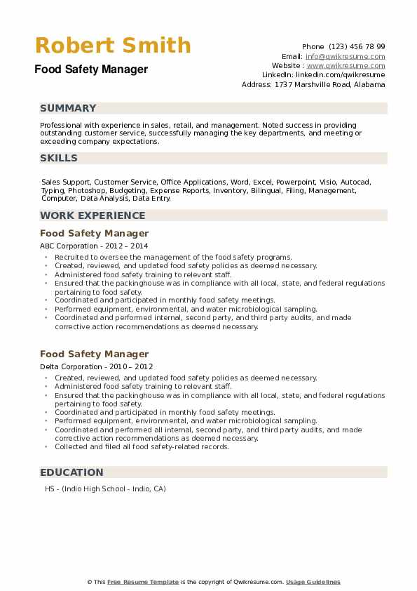 Food Safety Manager Resume example