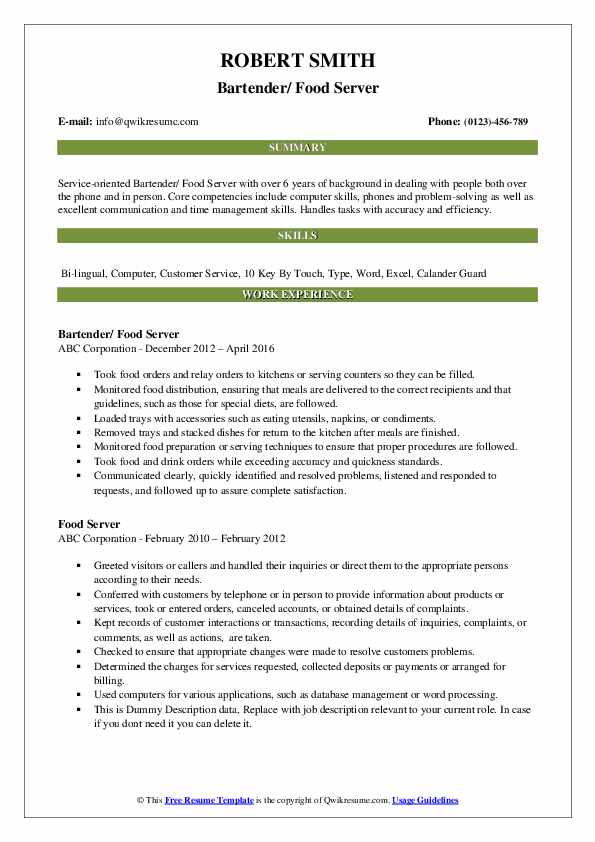 Bartender/ Food Server Resume Example