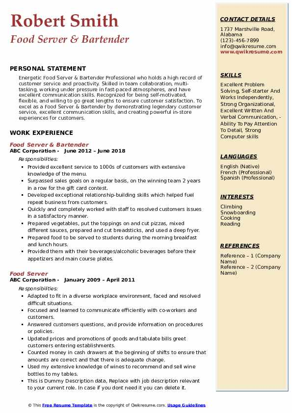Food Server & Bartender Resume Format