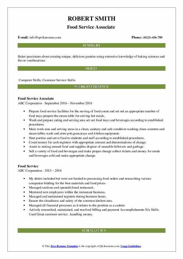 Food Service Associate  Resume Format