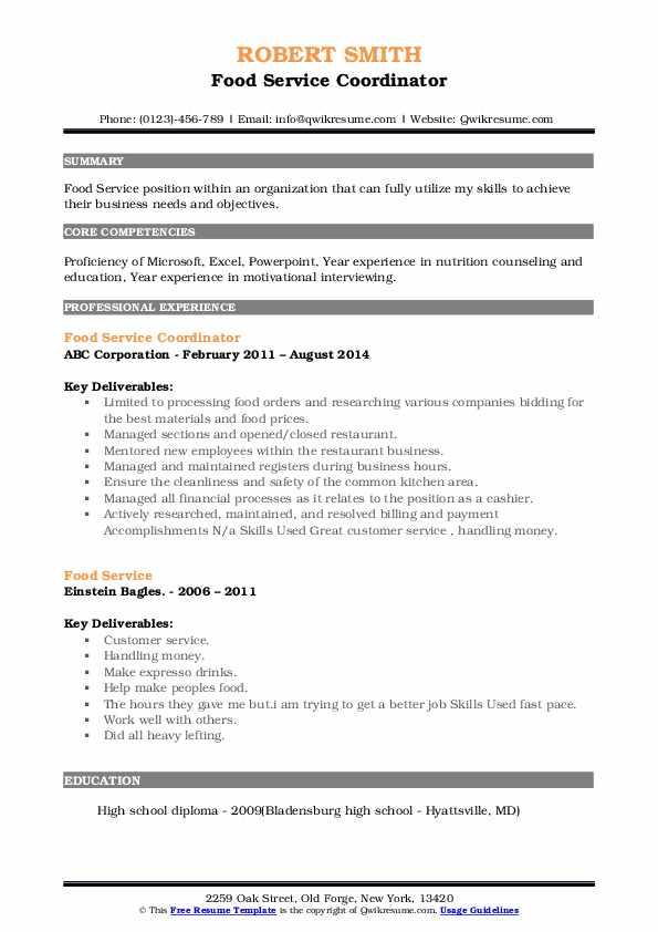 Food Service Coordinator Resume Example