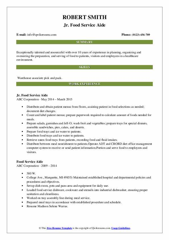 Jr. Food Service Aide Resume Template
