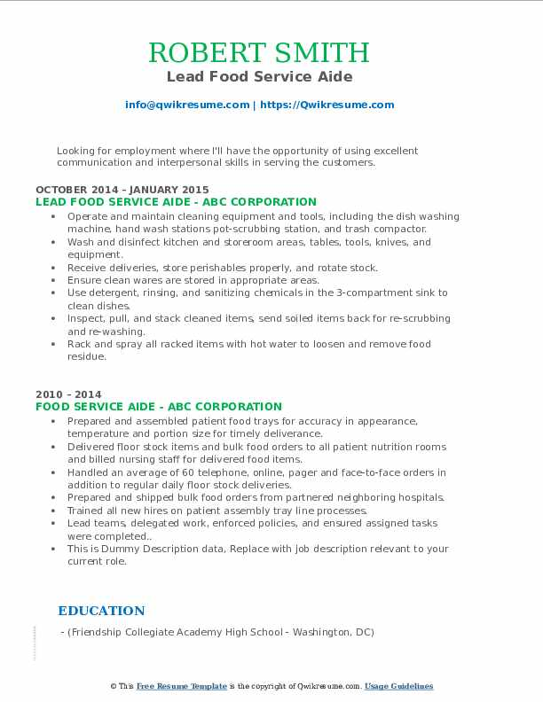 Lead Food Service Aide Resume Model