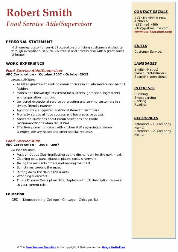 Food Service Aide/Supervisor Resume Format