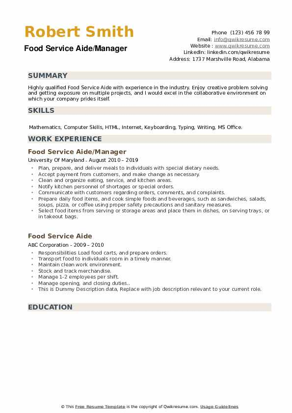Food Service Aide/Manager Resume Model