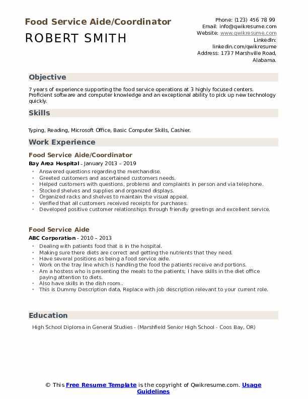 Food Service Aide/Coordinator Resume Template