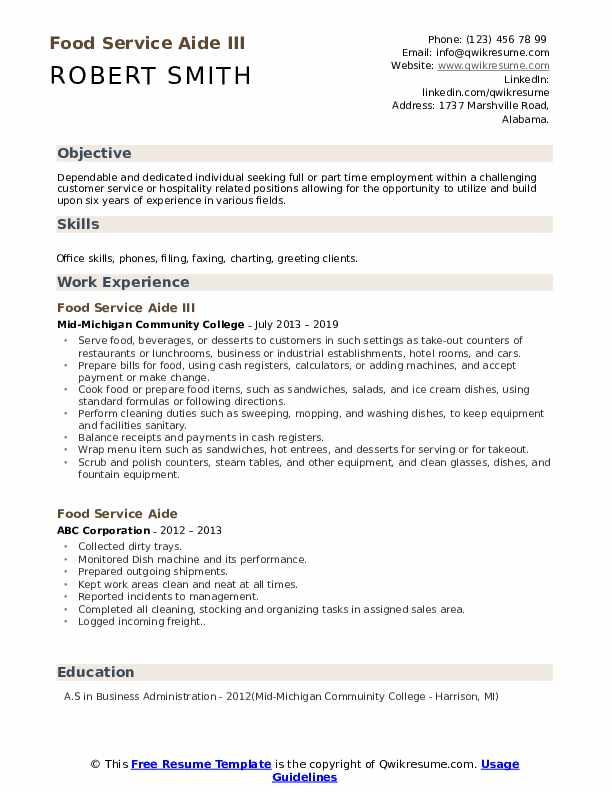 Counter Help Resume Template