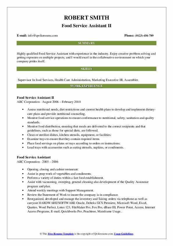 Food Service Assistant II Resume Template