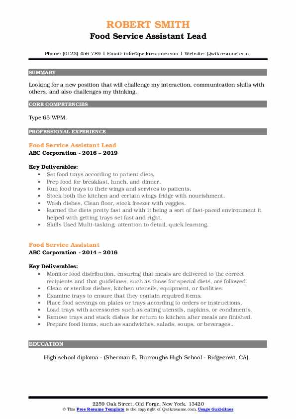 Food Service Assistant Lead Resume Format