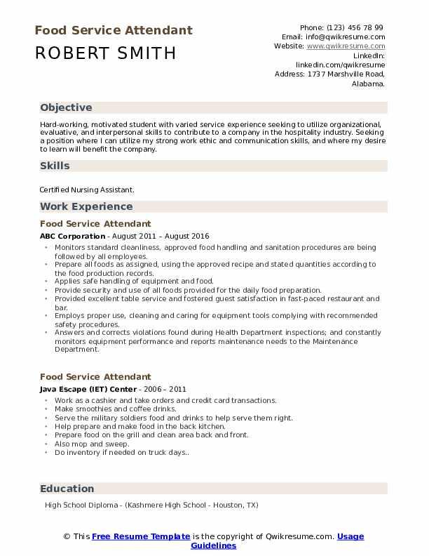 Food Service Attendant Resume Format