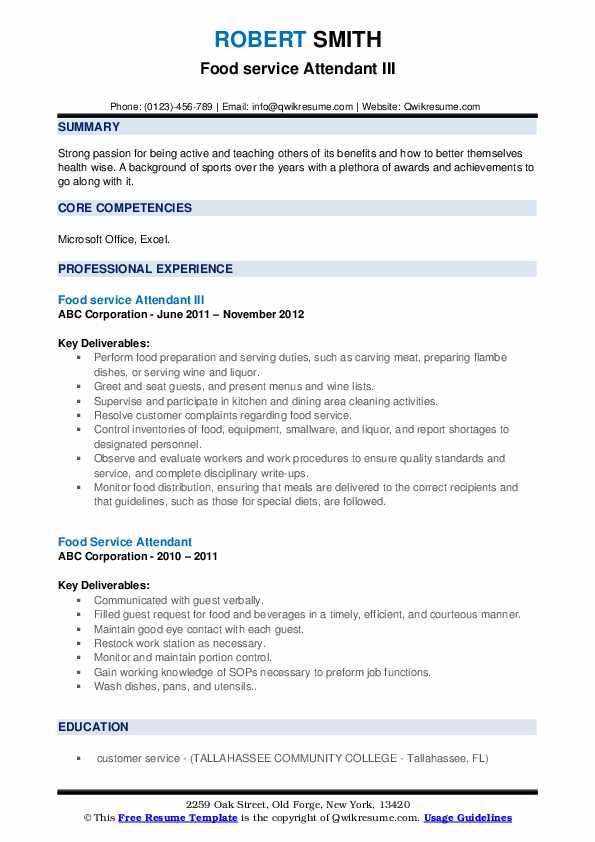 Food service Attendant III Resume Format