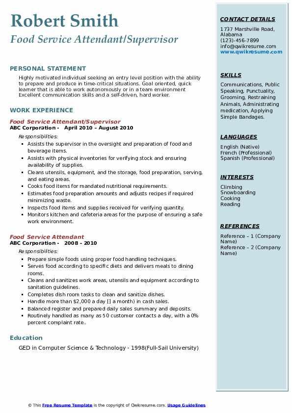 Food Service Attendant/Supervisor Resume Sample