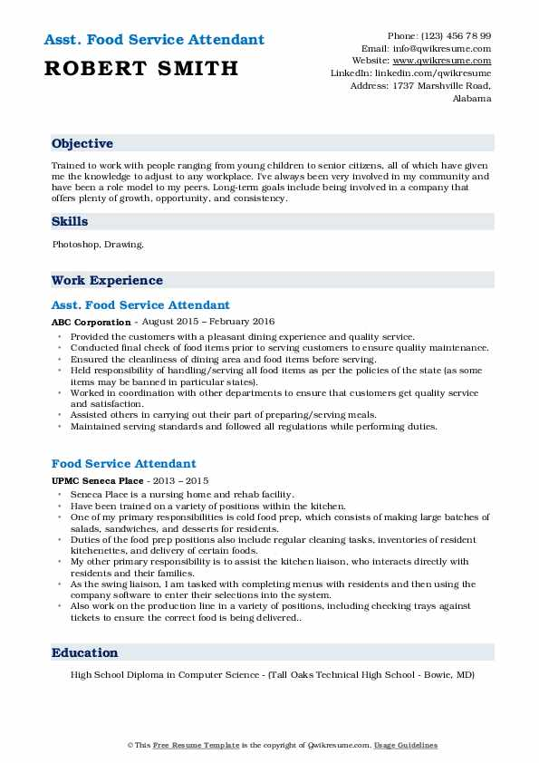 Asst. Food Service Attendant Resume Model
